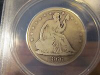 1866 SEATED HALF MOTTO ANACS GOOD 04 DETAILS