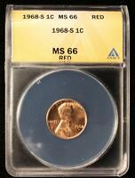 1968 S MEMORIAL CENT GEM UNC ANACS MS 66 RED US COIN 459
