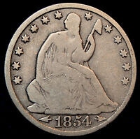 1854 O WITH ARROWS SEATED LIBERTY HALF DOLLAR A NICE ORIGINAL COIN FOR TYPE