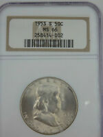 1953 S MS66 PQ TRENDS TO WHITE   NGC   FRANKLIN  HALF DOLLAR