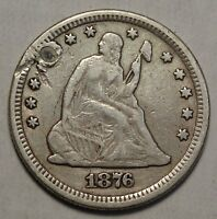 1876 CC SEATED LIBERTY QUARTER  POPULAR CARSON CITY DATE DISCOUNTED   0331 12
