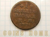 CH CIRCULATED 1 SKILLING 1771 DENMARK OLD COIN LOTSNVP UNCERTIFIED UNGRADED
