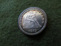 1873 OPEN 3 LIBERTY SEATED SILVER QUARTER PERIPHERAL TONING COLOR AU PHILLY 25C