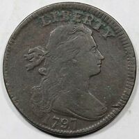 1797 S-138 DIE SWELLING W/ STEMS DRAPED BUST LARGE CENT COIN 1C