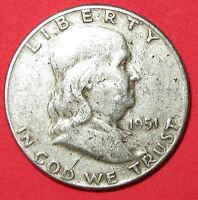 1951 FRANKLIN 90 SILVER HALF DOLLAR    LOW  49 CENT SHIPPING