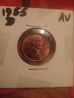 1955 D LINCOLN WHEAT CENT  AU BUY 6 GET 45 OFF