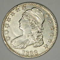 1833 BUST HALF DOLLAR   SHARP AU ABOUT UNCIRCULATED WITH SOME ORIGINAL LUSTER