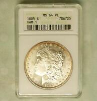 1885 ANACS MINT STATE 64 PL VAM-1 MORGAN SILVER $1, MINT STATE 64 PROOF LIKE COIN, AMAZING LUSTER