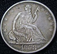 1858 SEATED LIBERTY HALF DOLLAR  AU  DETAILS 13072