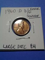 1960 D 1C LINCOLN CENT LARGE DATE AND DOUBLE D/D RED BEAUTIFUL ERROR COIN