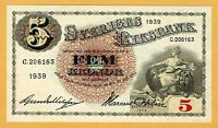SWEDEN 5 KRONOR 1939  UNC   ONE NOTE