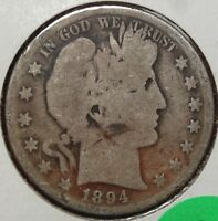 1894 BARBER HALF DOLLAR GOOD SOLID FULL RIMS    0913 07
