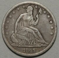 1865 S SEATED LIBERTY HALF DOLLAR LY FINE    0823 16