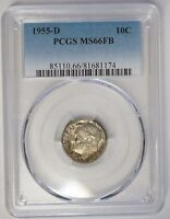 1955 D 10C ROOSEVELT SILVER DIME PCGS MS66FB FULL BANDS NATURAL TONING