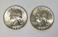 1960 & 1961 D 25C SILVER WASHINGTON BU QUARTERS UNCIRCULATED 2 COIN SET J 19