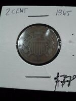 1865 2 CENT COIN BROWN SUPER DETAIL AND CONDITION EF