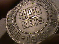 1918 BRAZIL 400 REIS FIRST YEAR WORLD COIN LIBERTY BUST LOW MINTAGE 491,000