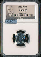 2013 D ROOSEVELT DIME NGC MAC MS68 FT 2ND FINEST REGISTRY