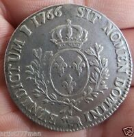 1 ECU LOUIS XV 1766 LARGE 41.1 MM SILVER COIN