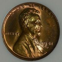 1941 D NGC MS67 RD LINCOLN CENT COPPER WHEAT 1C UNCIRCULATED GEM SHIPS FREE