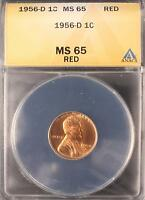 1956 D LINCOLN WHEAT CENT GEM UNC ANACS MS65 RED US COIN 833
