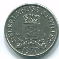 1970 25 CENT NETHERLANDS ANTILLES NICKEL  COLONIAL COIN S11423