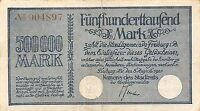 GERMANY 500 000 MARK 8.8.1923 FREIBURG CITY VIEW 1700  CIRCULATED BANKNOTE GER.1
