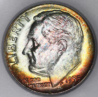 1955 D ROOSEVELT DIME ICG MS67 BOLD BEAUTIFUL COLORFUL RAINBOW TONED GEM PQ N15