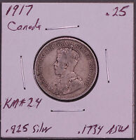 LOT OF 2 DIFFERENT EARLY TYPE CANADA .925 FINE SILVER QUARTERS. 1900 & 1917