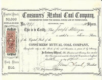 PENNSYLVANIA CONSUMERS' MUTUAL COAL CO STOCK CERTIFICATE 1865 ABN REVENUE STAMP