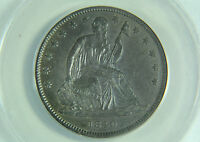 1840 SEATED LIBERTY HALF DOLLAR ANACS AU 53 PREMIUM QUALITY SMALL LETTERS
