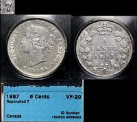 XMAS SALE   CANADA   5 CENTS   1887   7 OVER 7 VARIETY   VF20 INV116