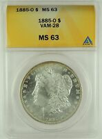 1885-O $1 MORGAN DOLLAR VAM-28 ANACS MINT STATE 63 5002289 R5 ONLY 4 FINER - REFLECTIVE