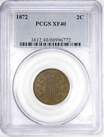 1872 2C TWO CENT PIECE -  PCGS EXTRA FINE 40 PRICED RIGHT