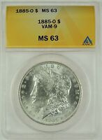 1885-O $1 MORGAN SILVER DOLLAR VAM-9 ANACS MINT STATE 63 5002295 R5 - TOUGH FIND IN MS