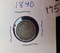 1840 SEATED DIMES 90 SILVER VG DETAILS NO DRAPERY TILTED SHIELD ITEM175