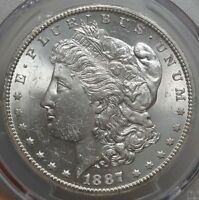 1887-S MORGAN DOLLAR, CHOICE UNCIRCULATED, BRIGHT WHITE PCGS CERTIFIED COIN