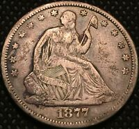 1877 CC SEATED LIBERTY HALF DOLLAR 50 CENTS   KEY DATE