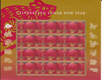 4221 - 41 CHINESE NEW YEAR, YEAR OF THE RAT ISSUE, MNH SHEET OF 12 FV $4.92