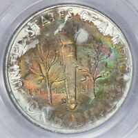 1954 D ROOSEVELT DIME PCGS MS65FB COLORFUL RAINBOW TONED OMAHA BANK HOARD PQ M1