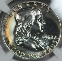 1962 FRANKLIN HALF DOLLAR PROOF NGC PF66 RAINBOW TONED GEM  O16