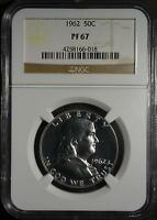 1962 NGC PF67 FRANKLIN HALF DOLLAR  90 SILVER COIN18 SHARP PROOF SHIPS FREE