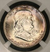 1951 P FRANKLIN HALF DOLLAR NGC MS65 RAINBOW TONED COLORFUL TONING 8F