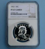 1963 NGC PROOF 67 CAMEO SILVER FRANKLIN HALF DOLLAR GEM PF67 CAM .50 CENT COIN