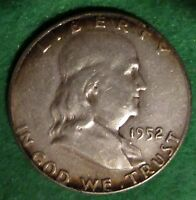 1952  FRANKLIN 90 SILVER HALF DOLLAR  LOW COMBINATION SHIPPING