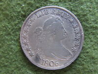 1806 DRAPED BUST SILVER HALF DOLLAR POINTED 6 STEM VARIETY US FIFTY CENTS COIN