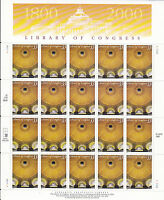 3390 - 33 LIBRARY OF CONGRESS ISSUE, MNH SHEET OF 20 FV $6.60