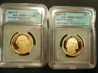 2 SLABBED $1 PRESIDENTIAL COINS 2007-S ICG PR 69,  PROOF