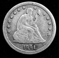 1891 S LIBERTY SEATED SILVER QUARTER