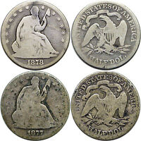 1877&1878 2 COINS 50C LIBERTY SEATED HALF DOLLARS AG/GOOD